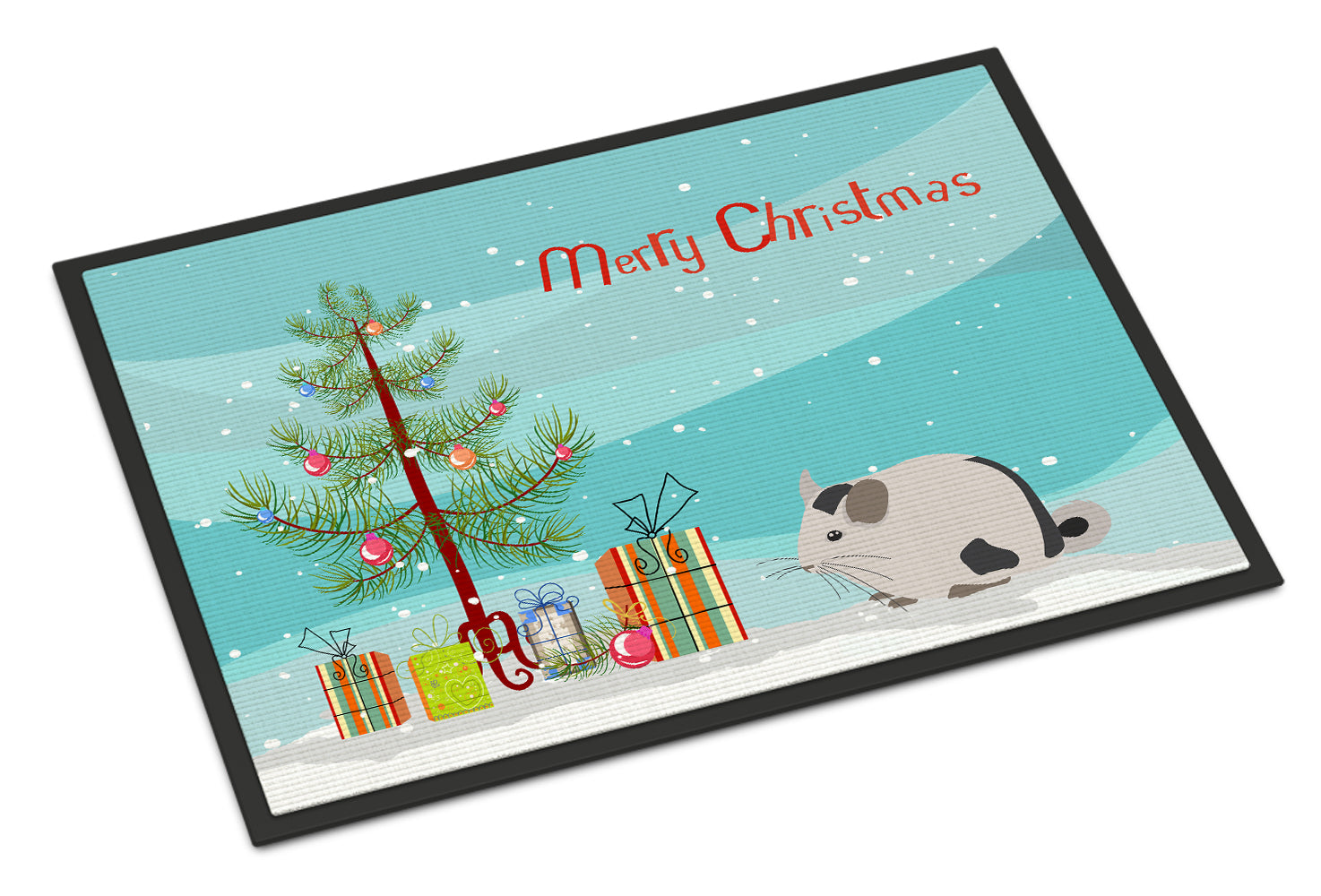 Mosaic Chinchilla Merry Christmas Indoor or Outdoor Mat 18x27 CK4435MAT by Caroline's Treasures
