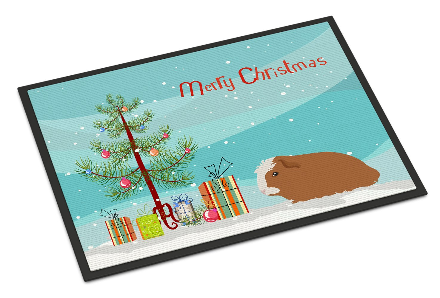 Crested Guinea Pig Merry Christmas Indoor or Outdoor Mat 24x36 CK4440JMAT by Caroline's Treasures