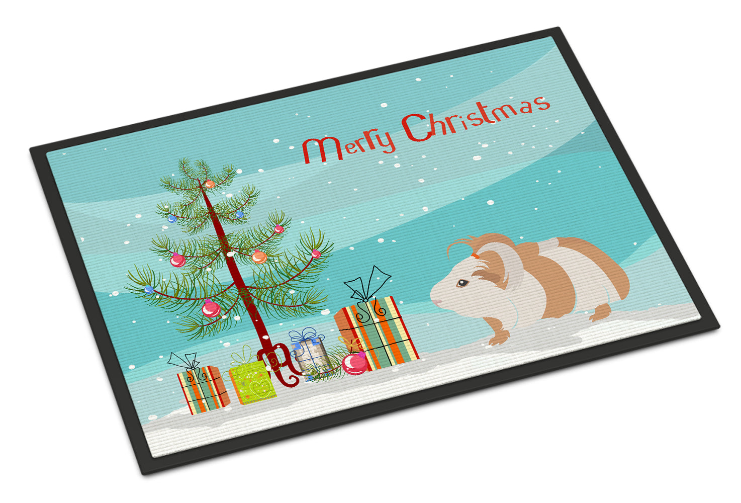 Silkie Guinea Pig Merry Christmas Indoor or Outdoor Mat 18x27 CK4446MAT by Caroline's Treasures
