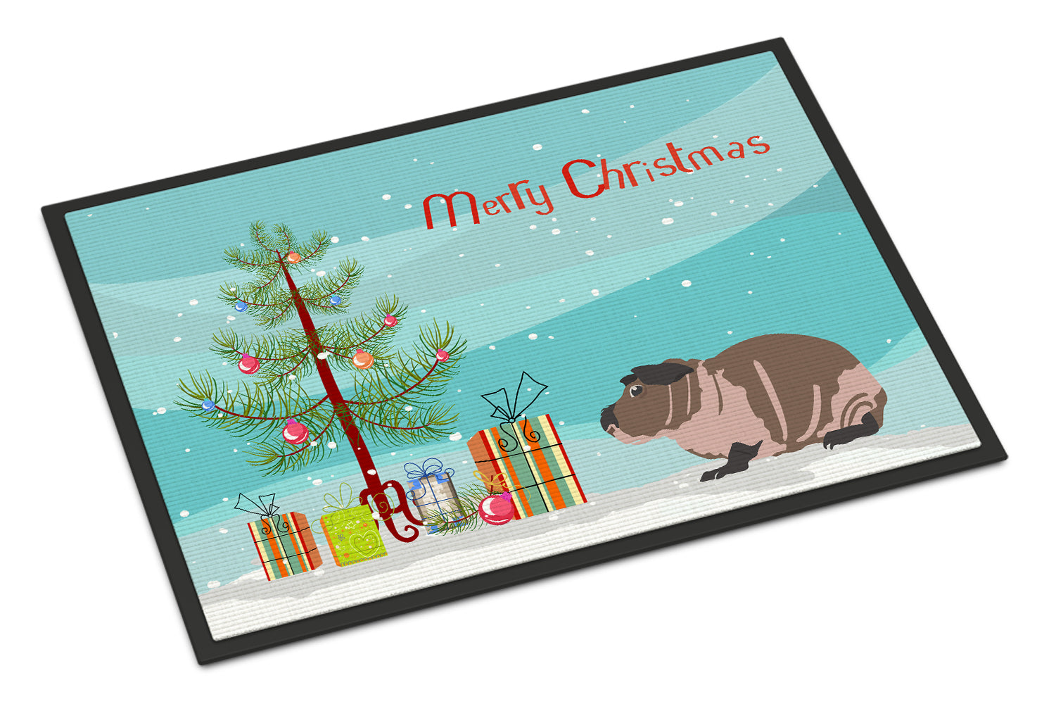Skinny Guinea Pig Merry Christmas Indoor or Outdoor Mat 18x27 CK4447MAT by Caroline's Treasures
