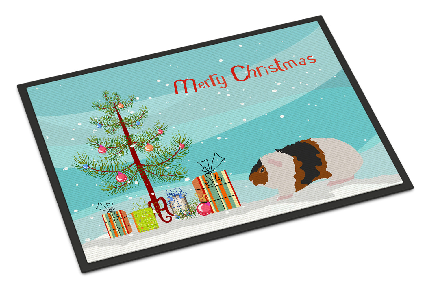 Teddy Guinea Pig Merry Christmas Indoor or Outdoor Mat 18x27 CK4448MAT by Caroline's Treasures