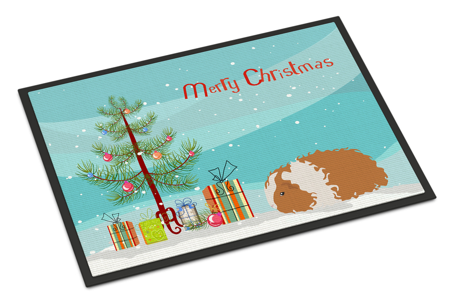 Texel Guinea Pig Merry Christmas Indoor or Outdoor Mat 18x27 CK4449MAT by Caroline's Treasures