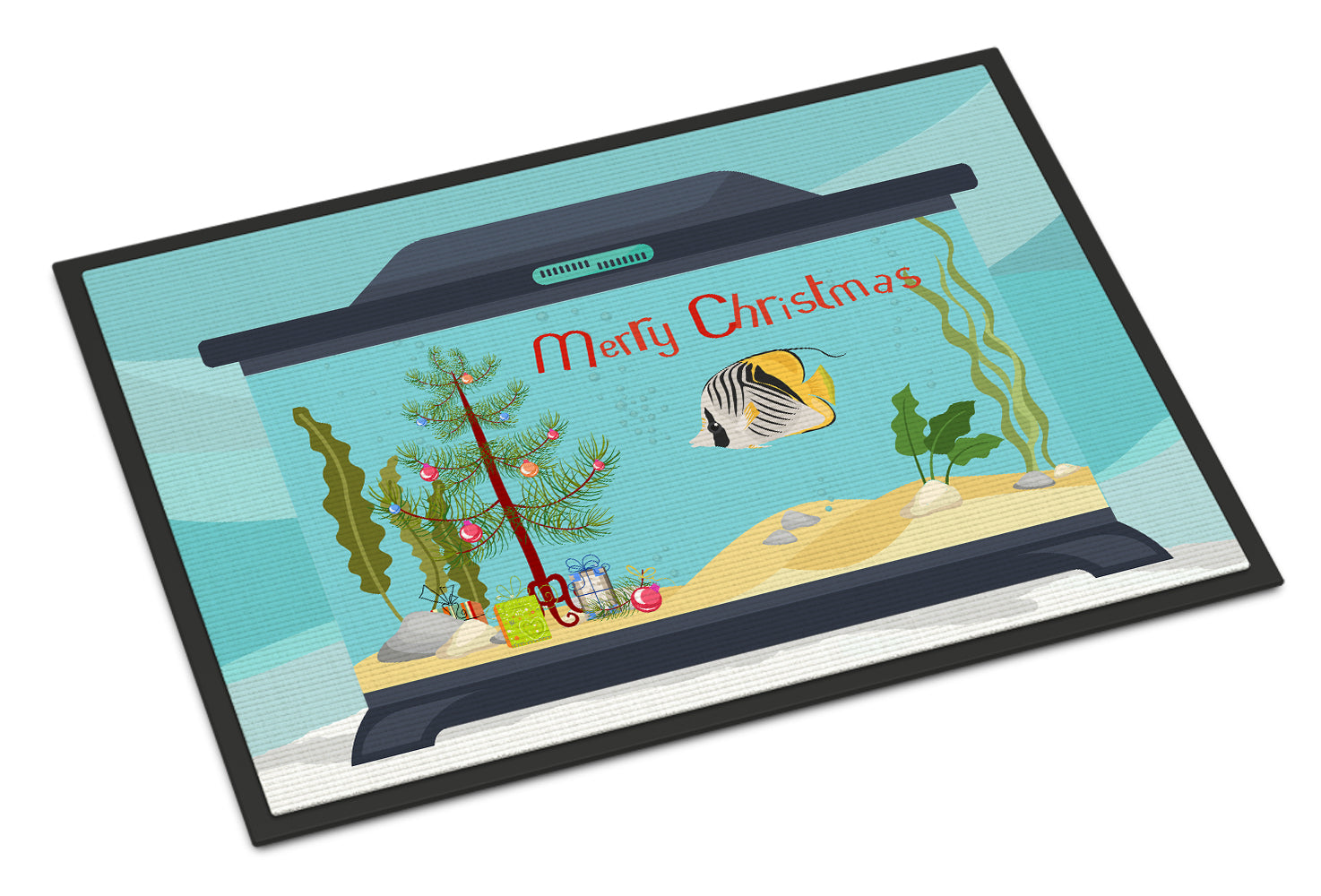 Butterfly Fish Merry Christmas Indoor or Outdoor Mat 18x27 CK4505MAT by Caroline's Treasures