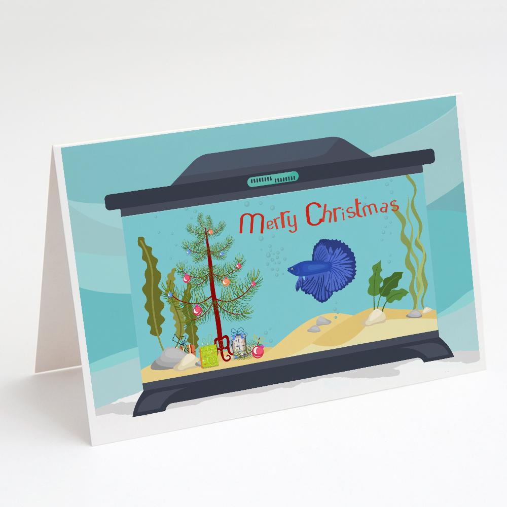 Buy this Delta Tail Betta Fish Merry Christmas Greeting Cards and Envelopes Pack of 8