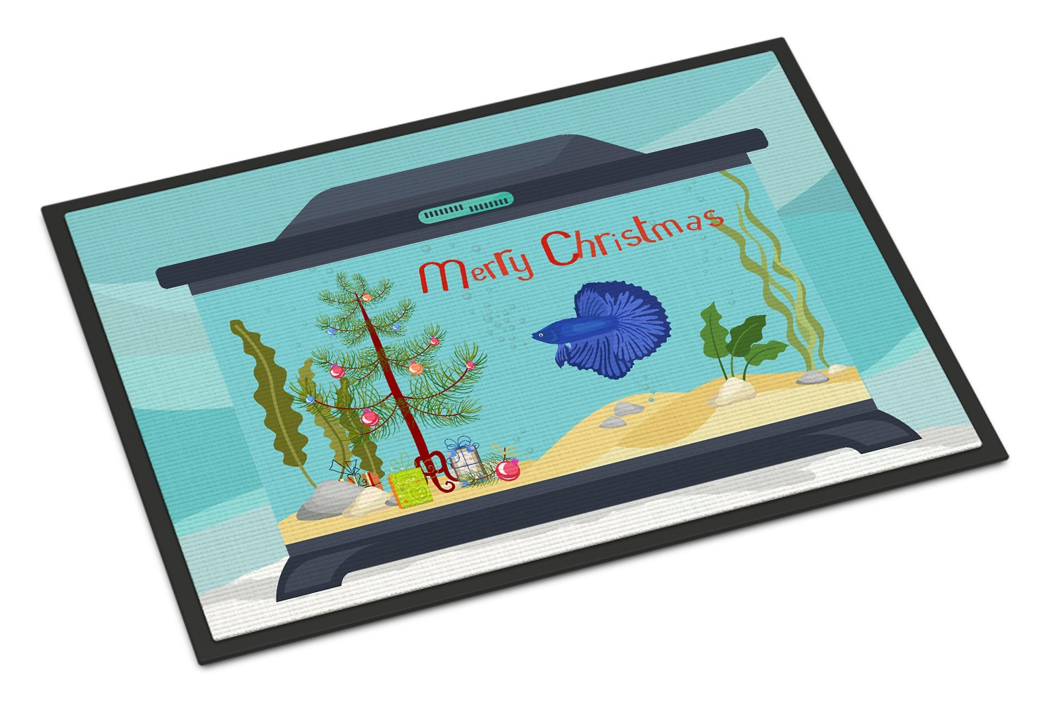 Delta Tail Betta Fish Merry Christmas Indoor or Outdoor Mat 24x36 CK4507JMAT by Caroline's Treasures