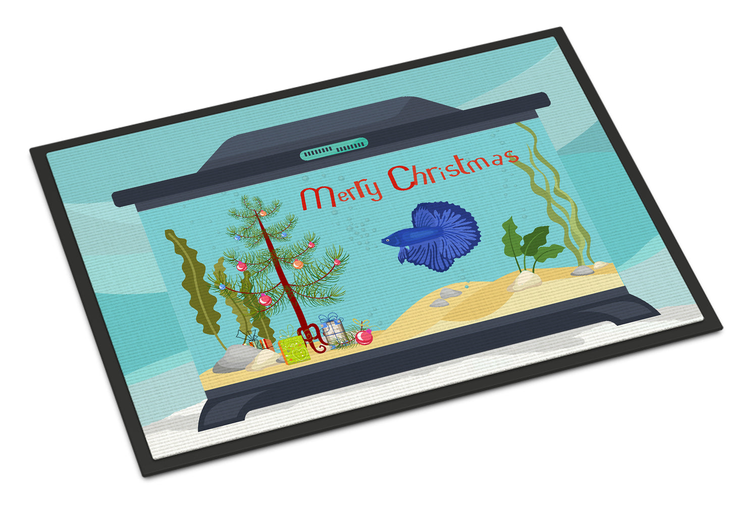 Delta Tail Betta Fish Merry Christmas Indoor or Outdoor Mat 18x27 CK4507MAT by Caroline's Treasures
