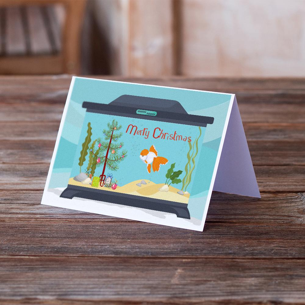 Buy this Oranda Red Cap Goldfish Merry Christmas Greeting Cards and Envelopes Pack of 8