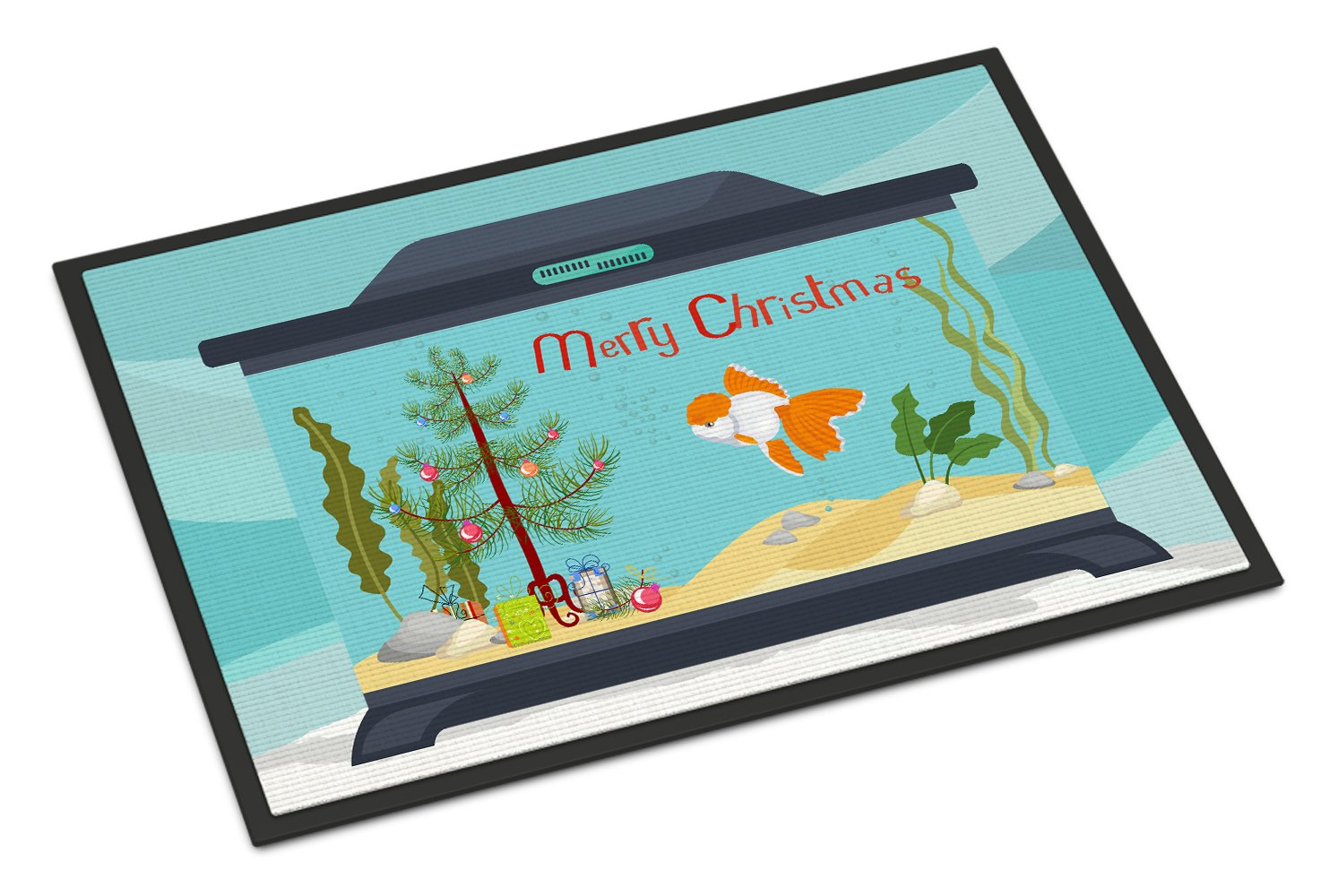 Oranda Red Cap Goldfish Merry Christmas Indoor or Outdoor Mat 24x36 CK4514JMAT by Caroline's Treasures