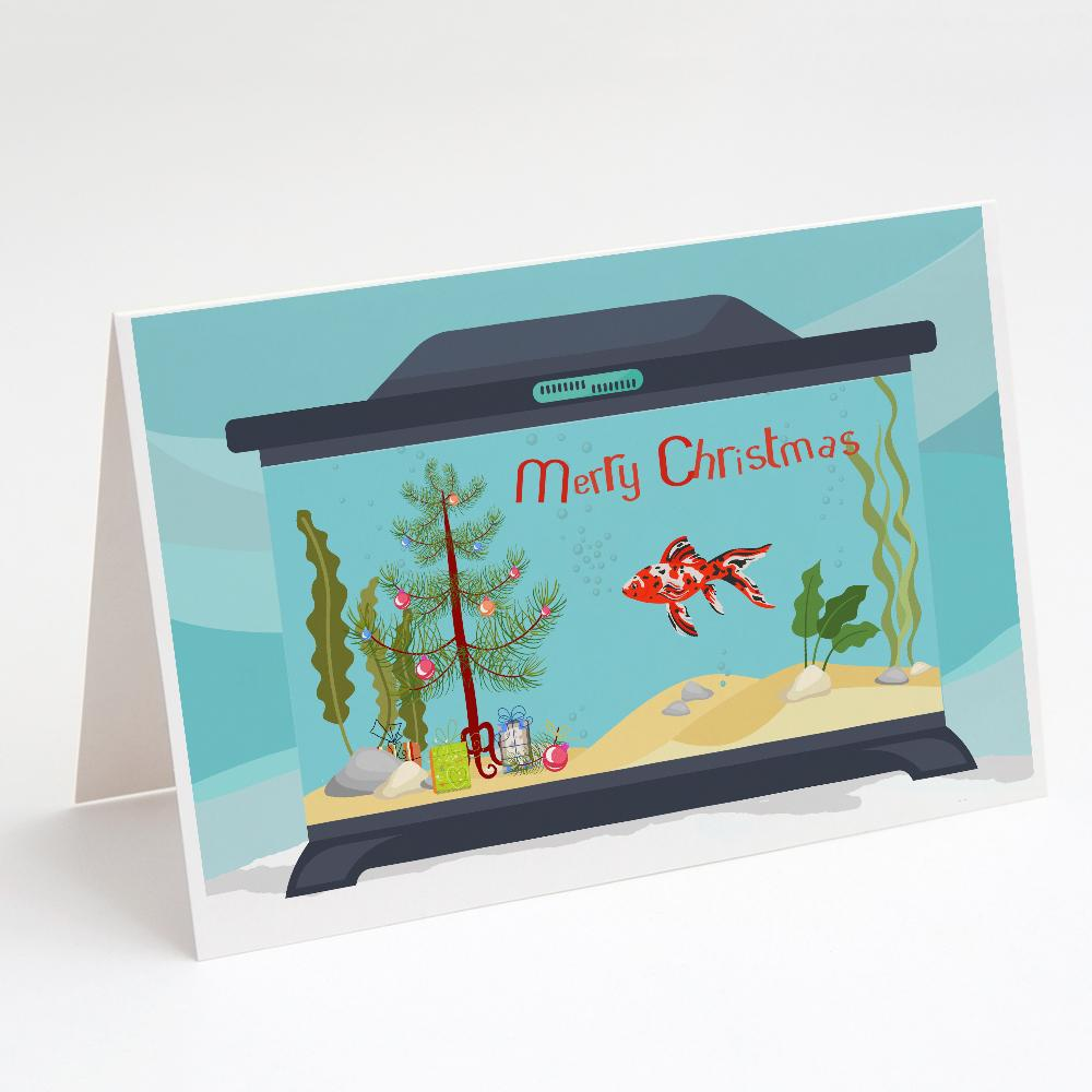 Buy this Shubunkin Goldfish Merry Christmas Greeting Cards and Envelopes Pack of 8
