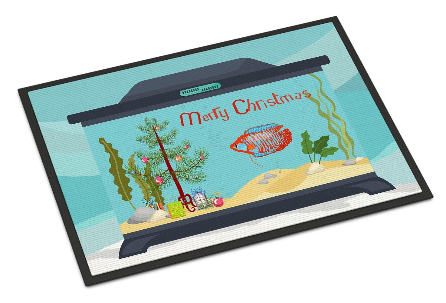 Dwarf Gourami Merry Christmas Indoor or Outdoor Mat 24x36 CK4524JMAT by Caroline's Treasures