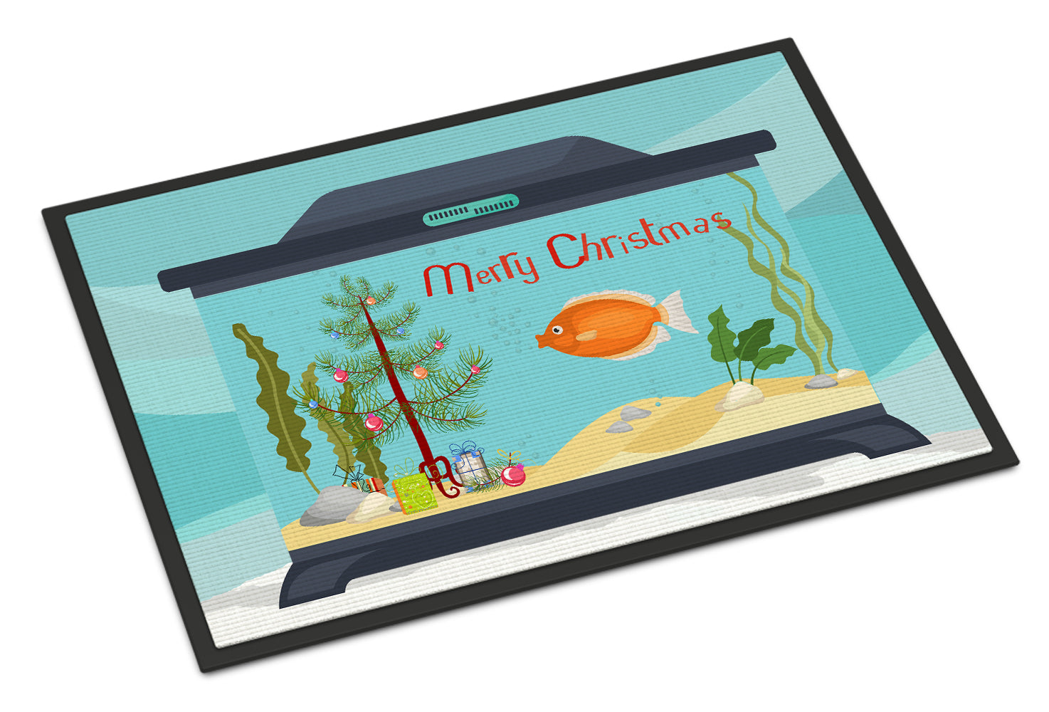 Kissing Gourami Merry Christmas Indoor or Outdoor Mat 18x27 CK4527MAT by Caroline's Treasures