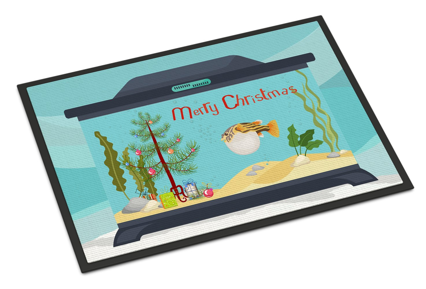 Puffer Fish Merry Christmas Indoor or Outdoor Mat 24x36 CK4535JMAT by Caroline's Treasures