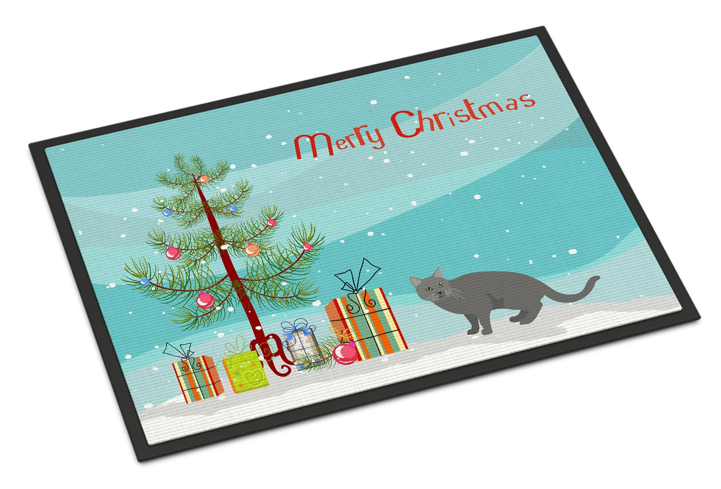 Chartreux #1 Cat Merry Christmas Indoor or Outdoor Mat 24x36 CK4582JMAT by Caroline's Treasures