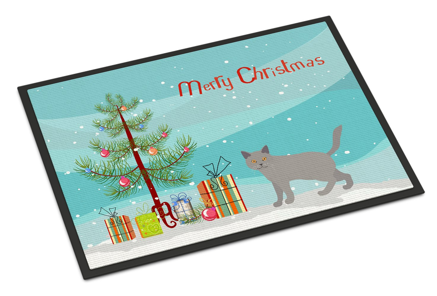 Chartreux #2 Cat Merry Christmas Indoor or Outdoor Mat 24x36 CK4583JMAT by Caroline's Treasures