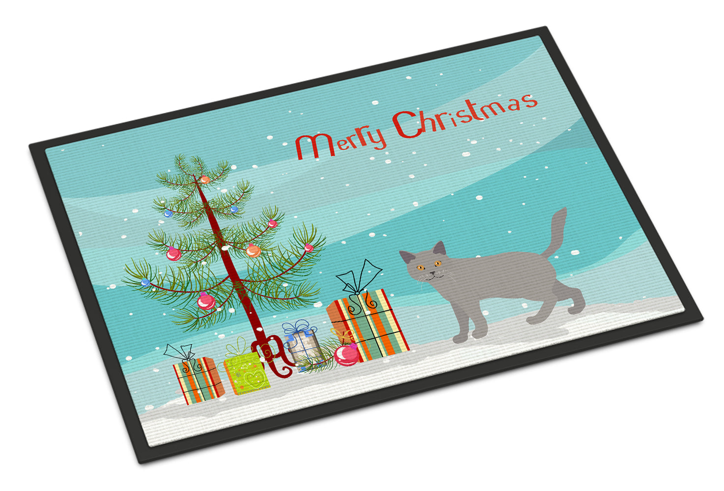 Chartreux #2 Cat Merry Christmas Indoor or Outdoor Mat 18x27 CK4583MAT by Caroline's Treasures