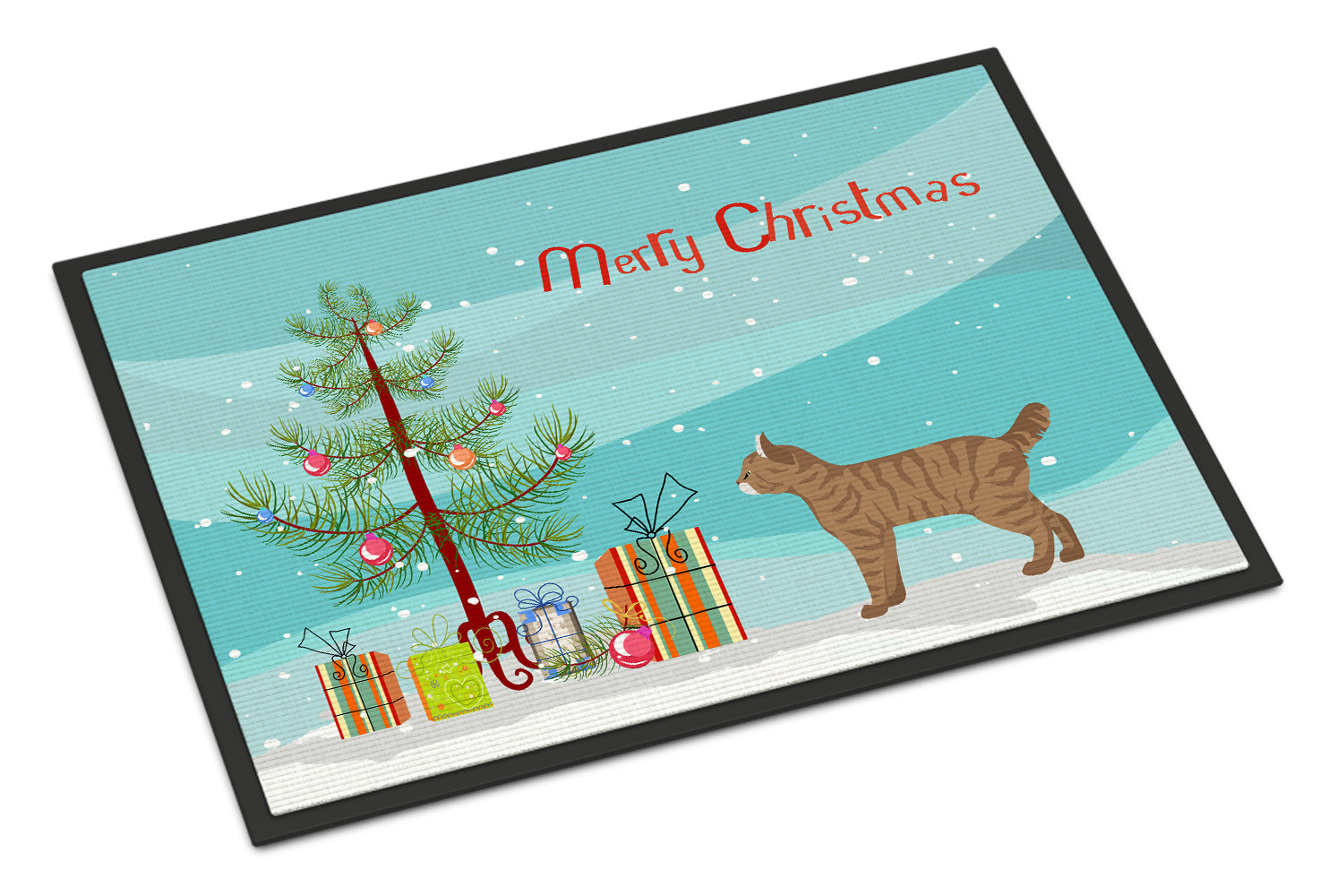 Highlander Lynx #1 Cat Merry Christmas Indoor or Outdoor Mat 18x27 CK4630MAT by Caroline's Treasures