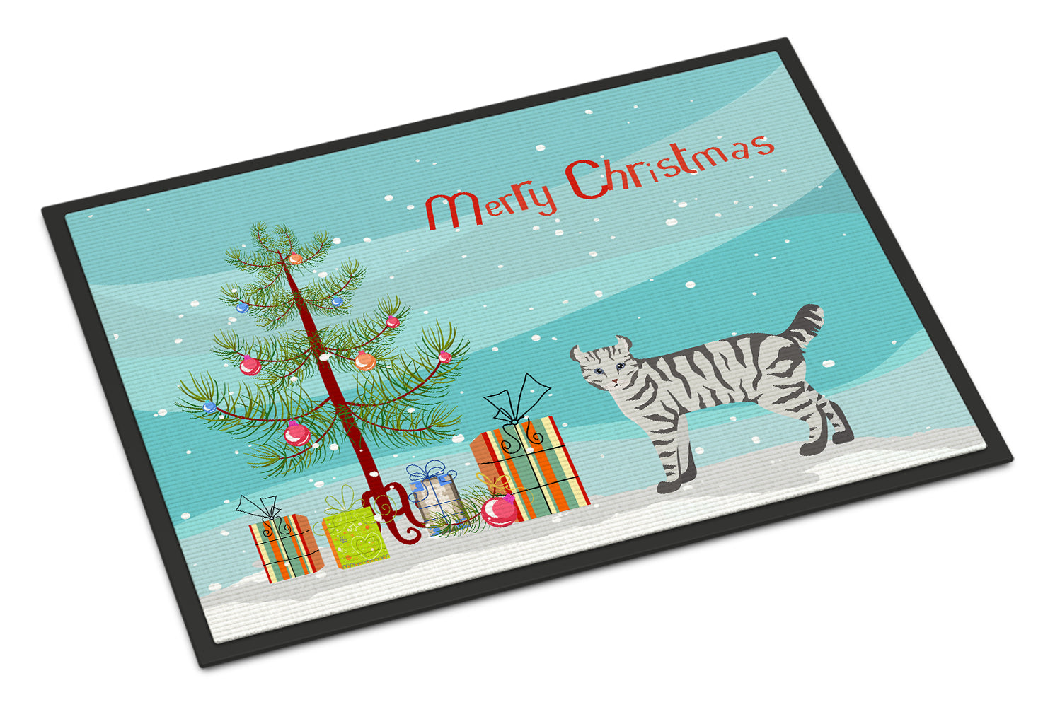Highlander Lynx #2 Cat Merry Christmas Indoor or Outdoor Mat 18x27 CK4631MAT by Caroline's Treasures