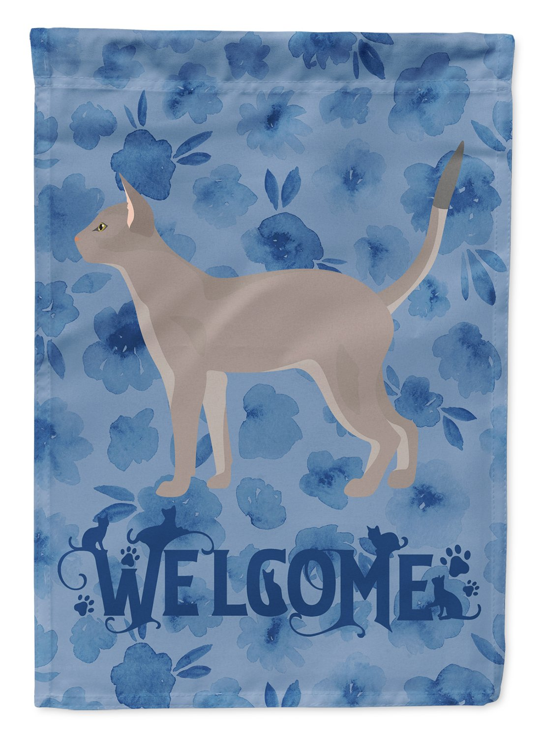 Buy this Blue Abyssinian Cat Welcome Flag Garden Size CK4813GF