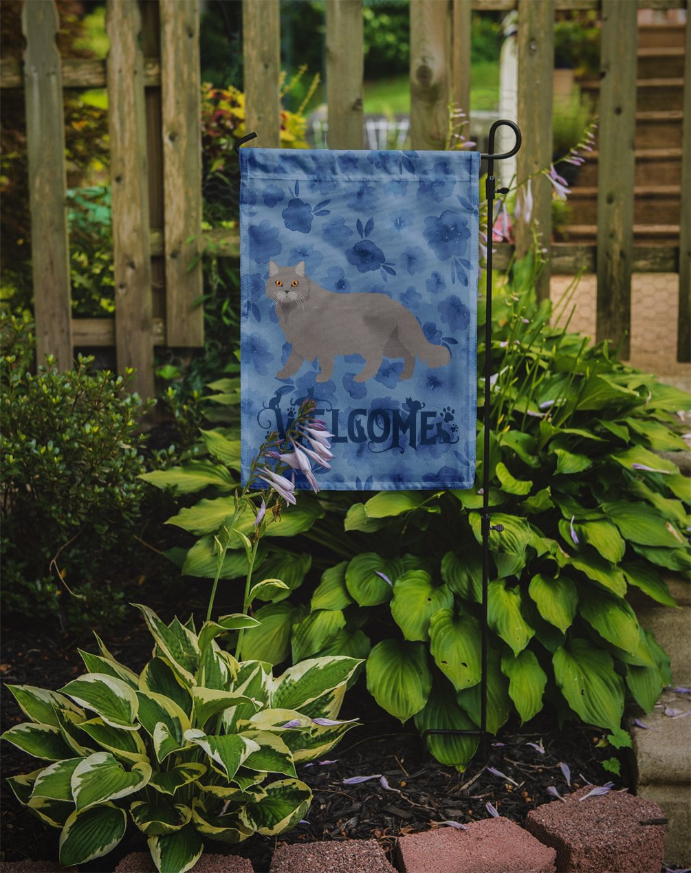British Longhair Cat Welcome Flag Garden Size CK4838GF by Caroline's Treasures