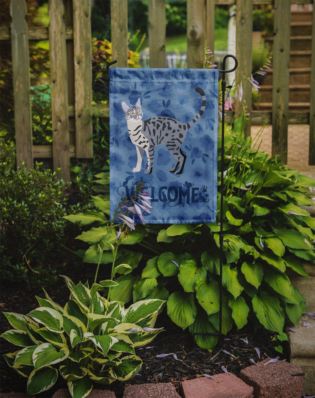 California Spangled #1 Cat Welcome Flag Garden Size CK4844GF by Caroline's Treasures