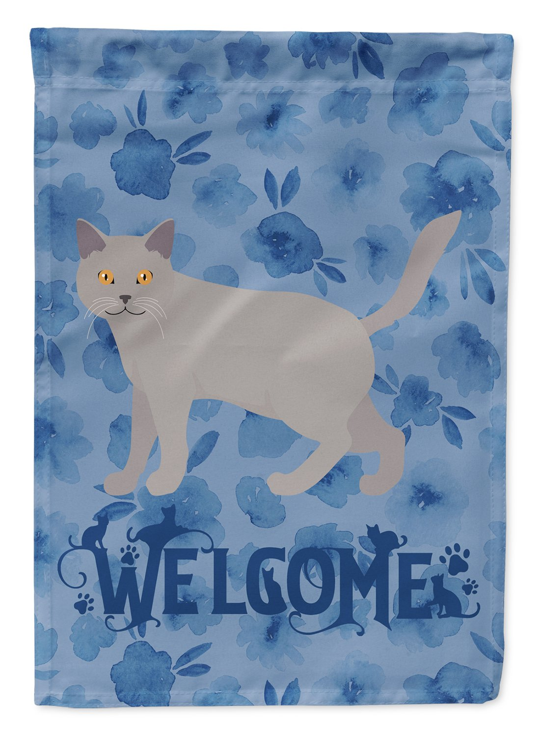 Chartreux #2 Cat Welcome Flag Garden Size CK4849GF by Caroline's Treasures
