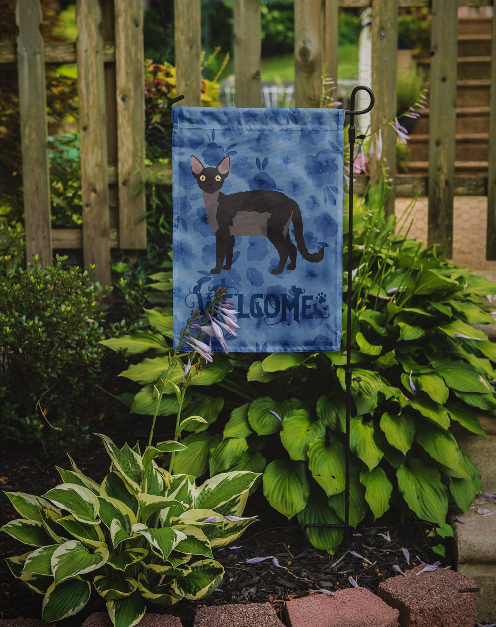 Buy this Devon Rex Cat Welcome Flag Garden Size CK4867GF