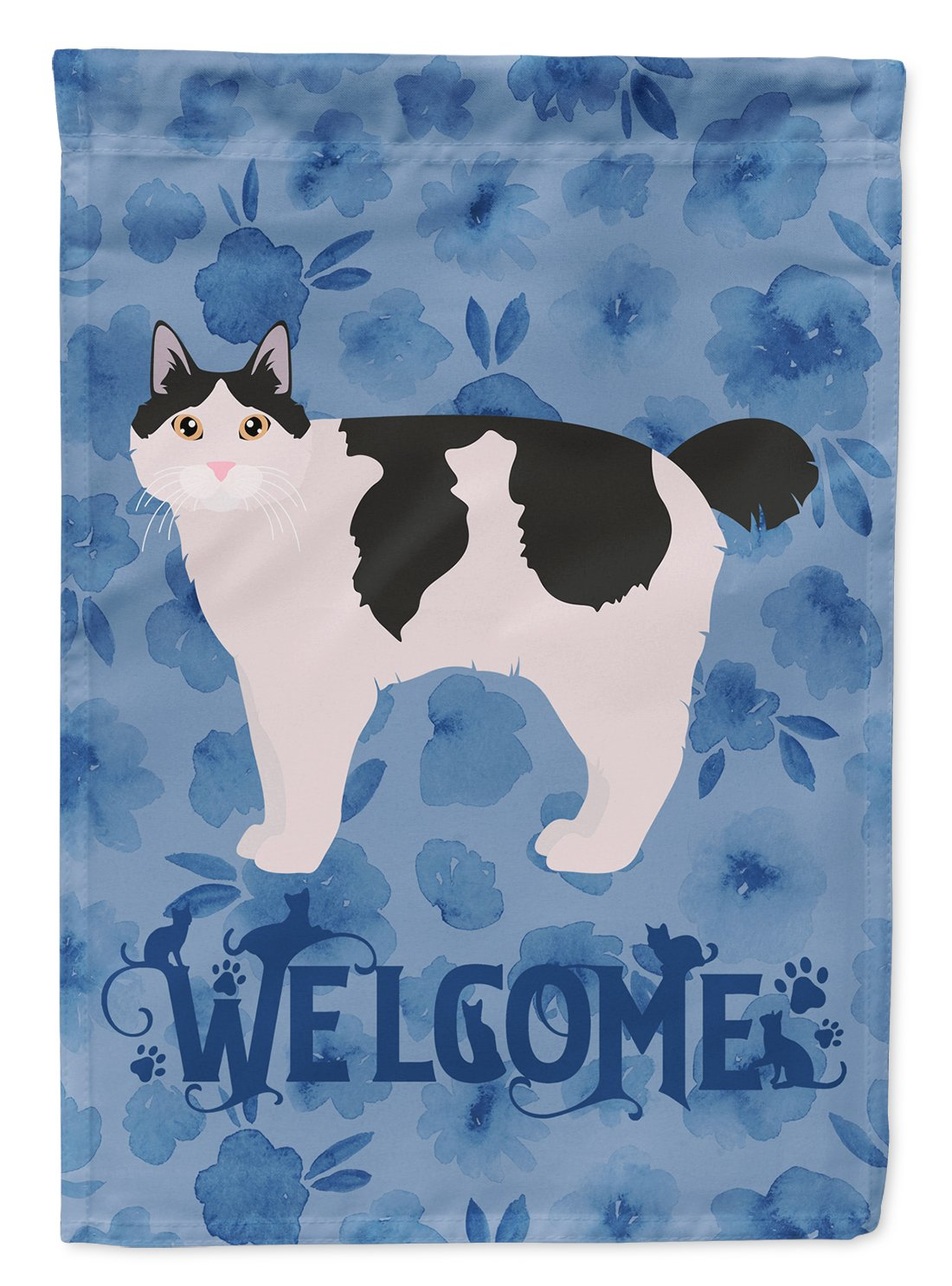 Kurilian Bobtail #2 Cat Welcome Flag Garden Size CK4907GF by Caroline's Treasures