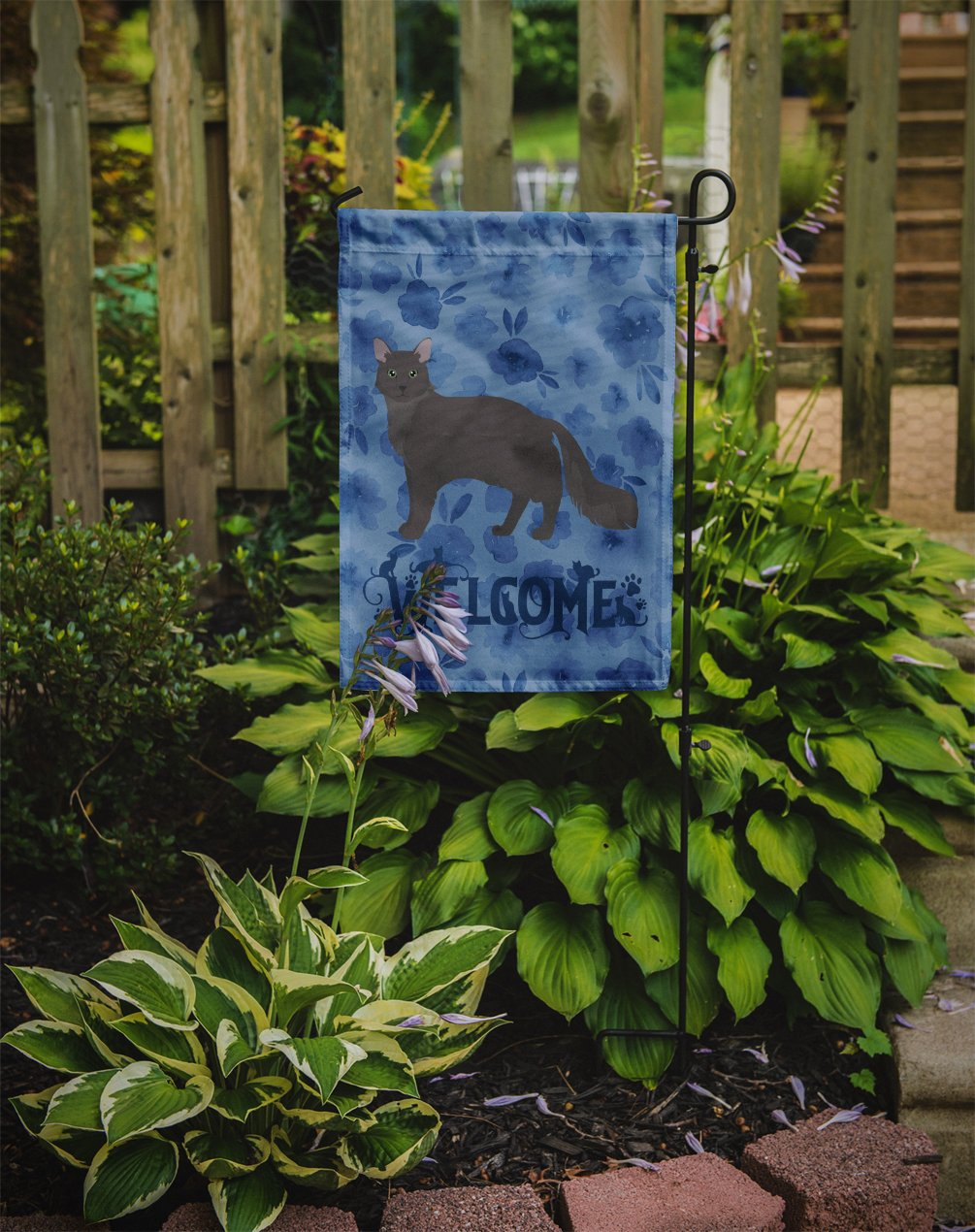 Nebelung #1 Cat Welcome Flag Garden Size CK4927GF by Caroline's Treasures