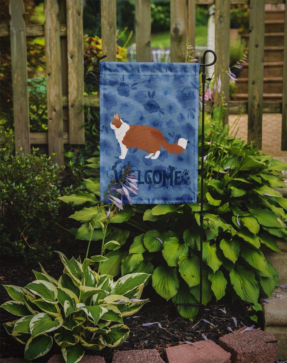 Norwegian Forest #2 Cat Welcome Flag Garden Size CK4931GF by Caroline's Treasures