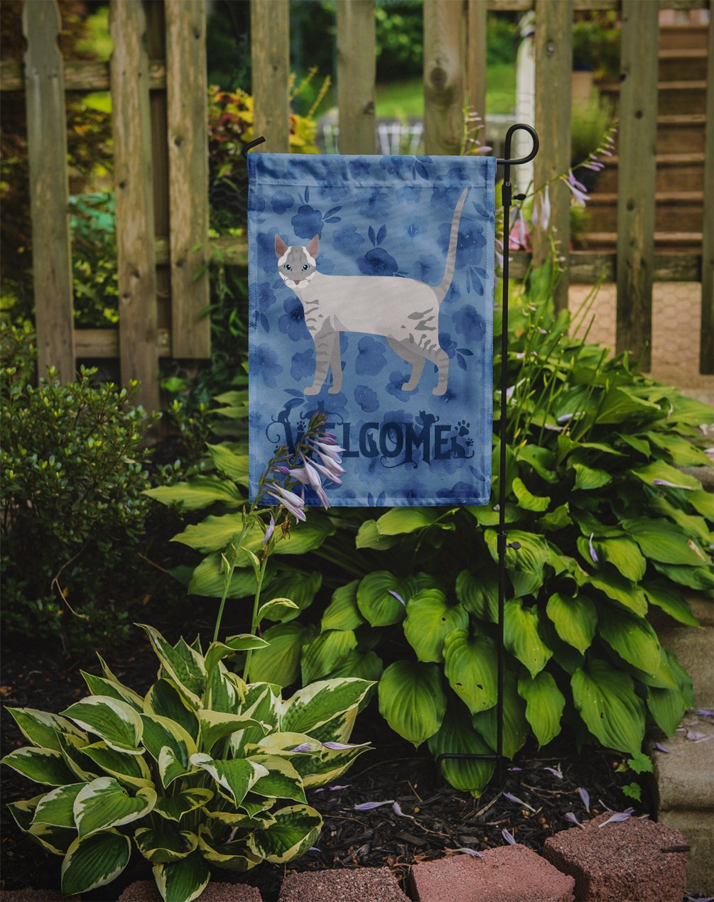 Ojos Azules Cat Welcome Flag Garden Size CK4933GF by Caroline's Treasures