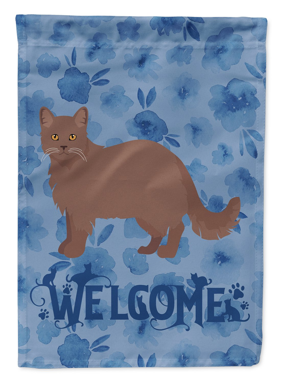 York Chocolate #1 Cat Welcome Flag Garden Size CK5003GF by Caroline's Treasures