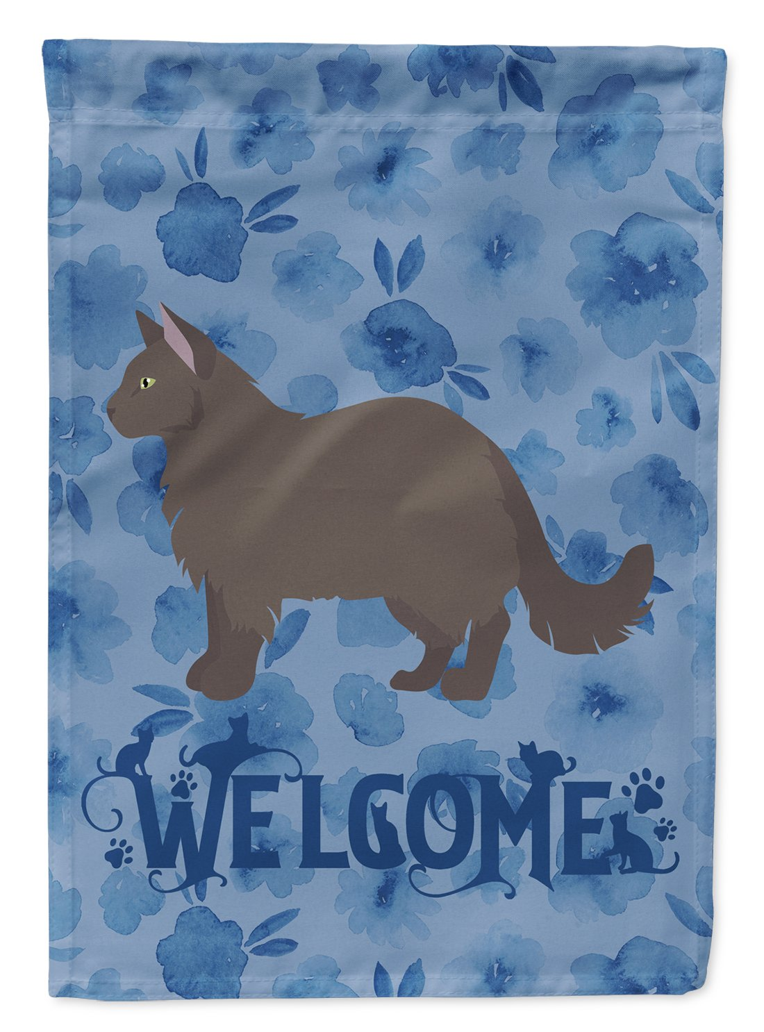 York Chocolate #2 Cat Welcome Flag Garden Size CK5004GF by Caroline's Treasures