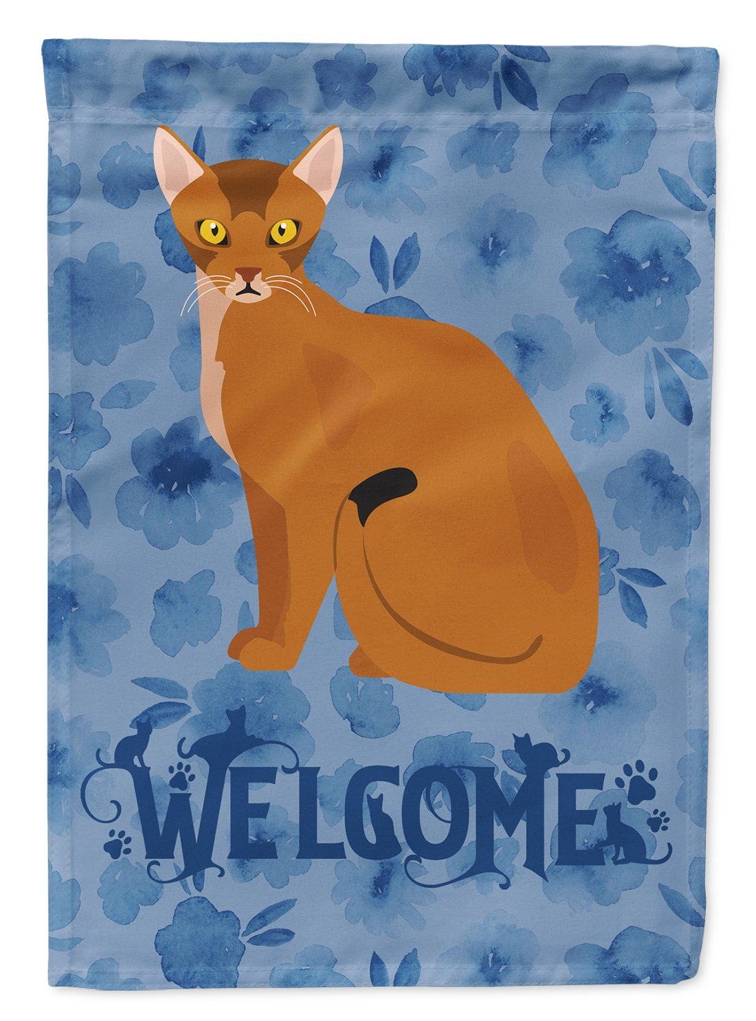 Buy this Abyssinian Cat Welcome Flag Garden Size CK5005GF