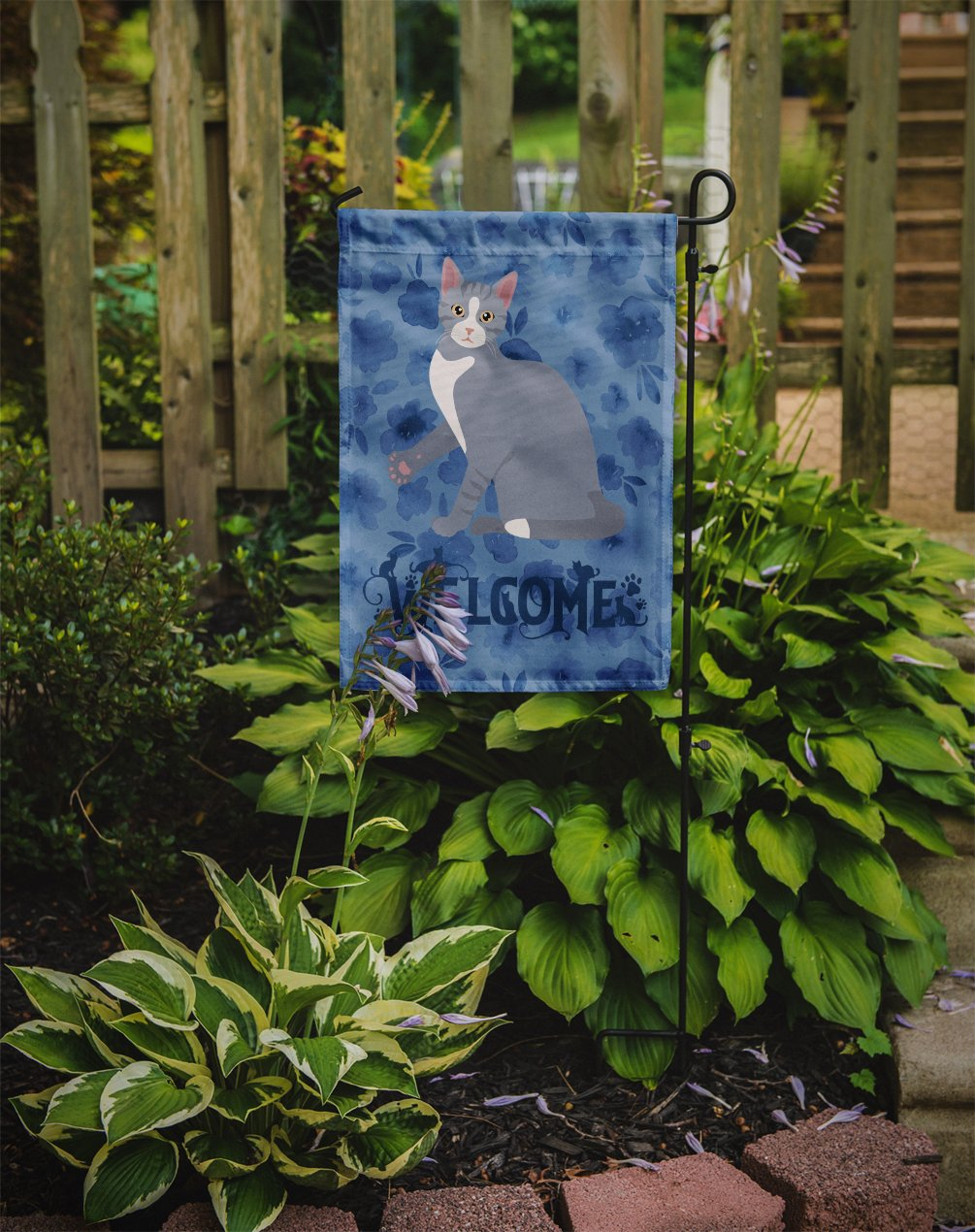 American Polydactyl #2 Cat Welcome Flag Garden Size CK5009GF by Caroline's Treasures