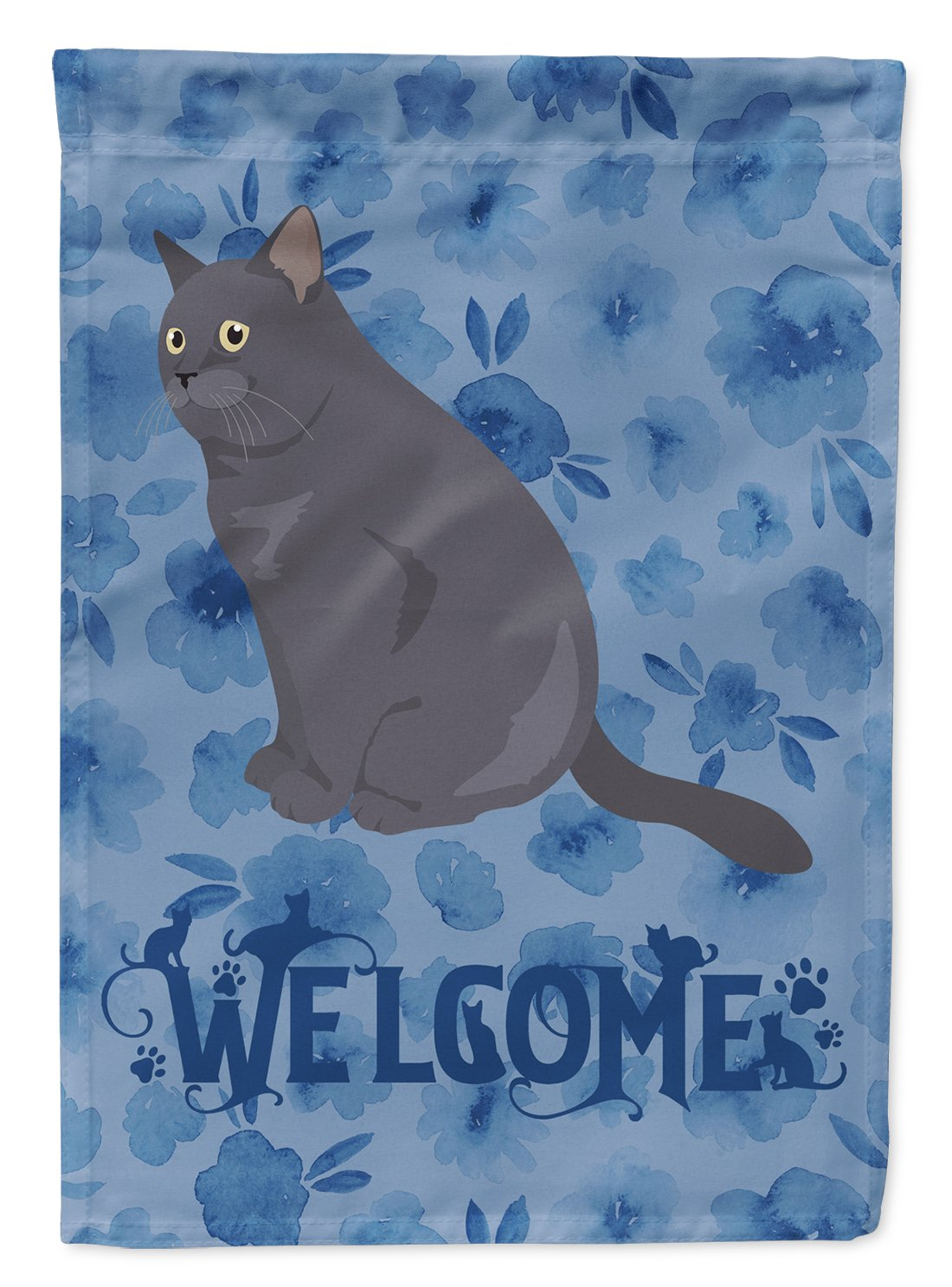 British Shorthair Cat Welcome Flag Garden Size CK5017GF by Caroline's Treasures