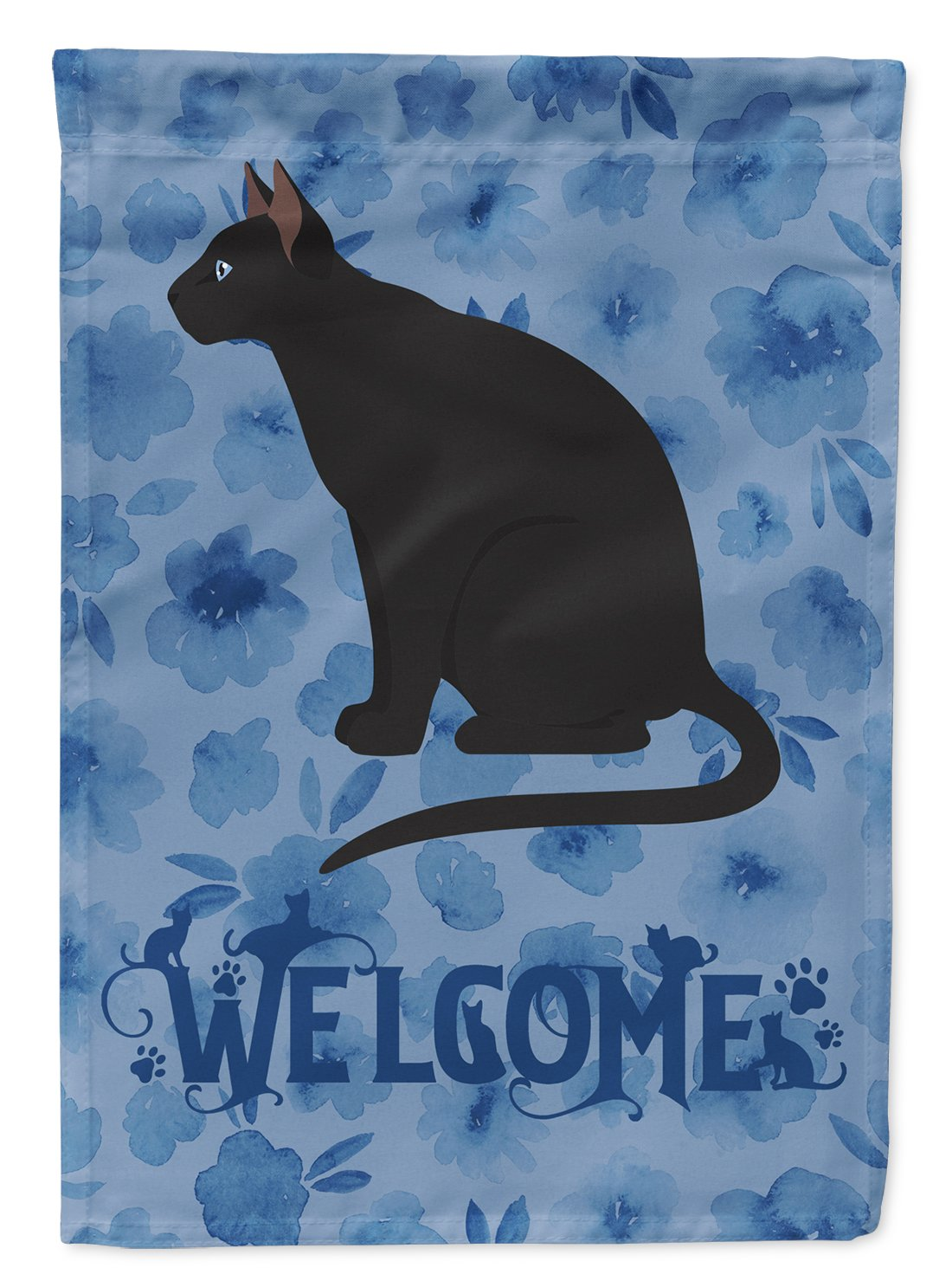 Ojos Azules Cat Welcome Flag Garden Size CK5047GF by Caroline's Treasures