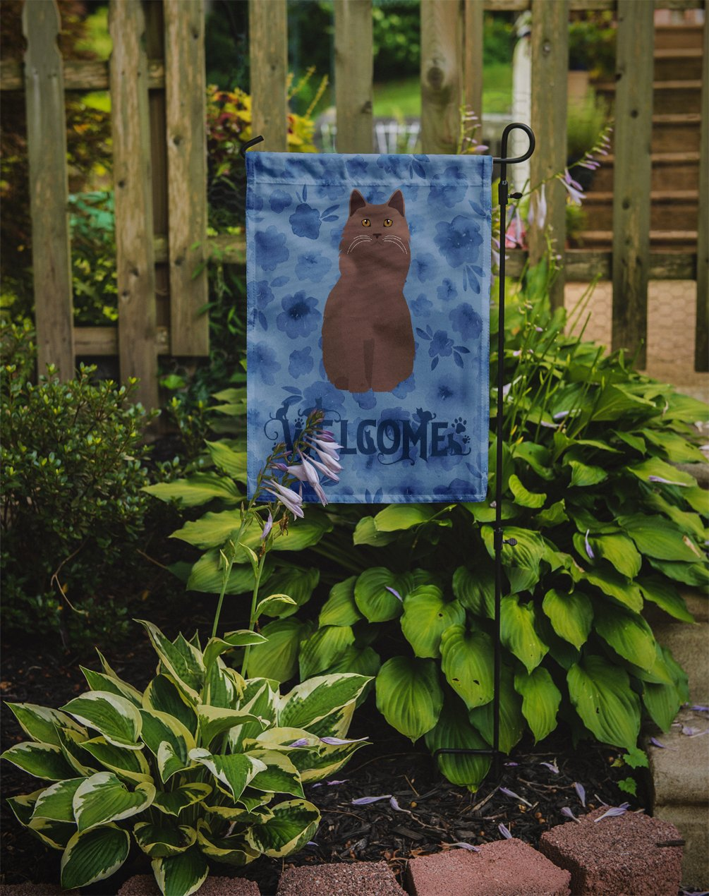York Chocolate Cat Welcome Flag Garden Size CK5076GF by Caroline's Treasures