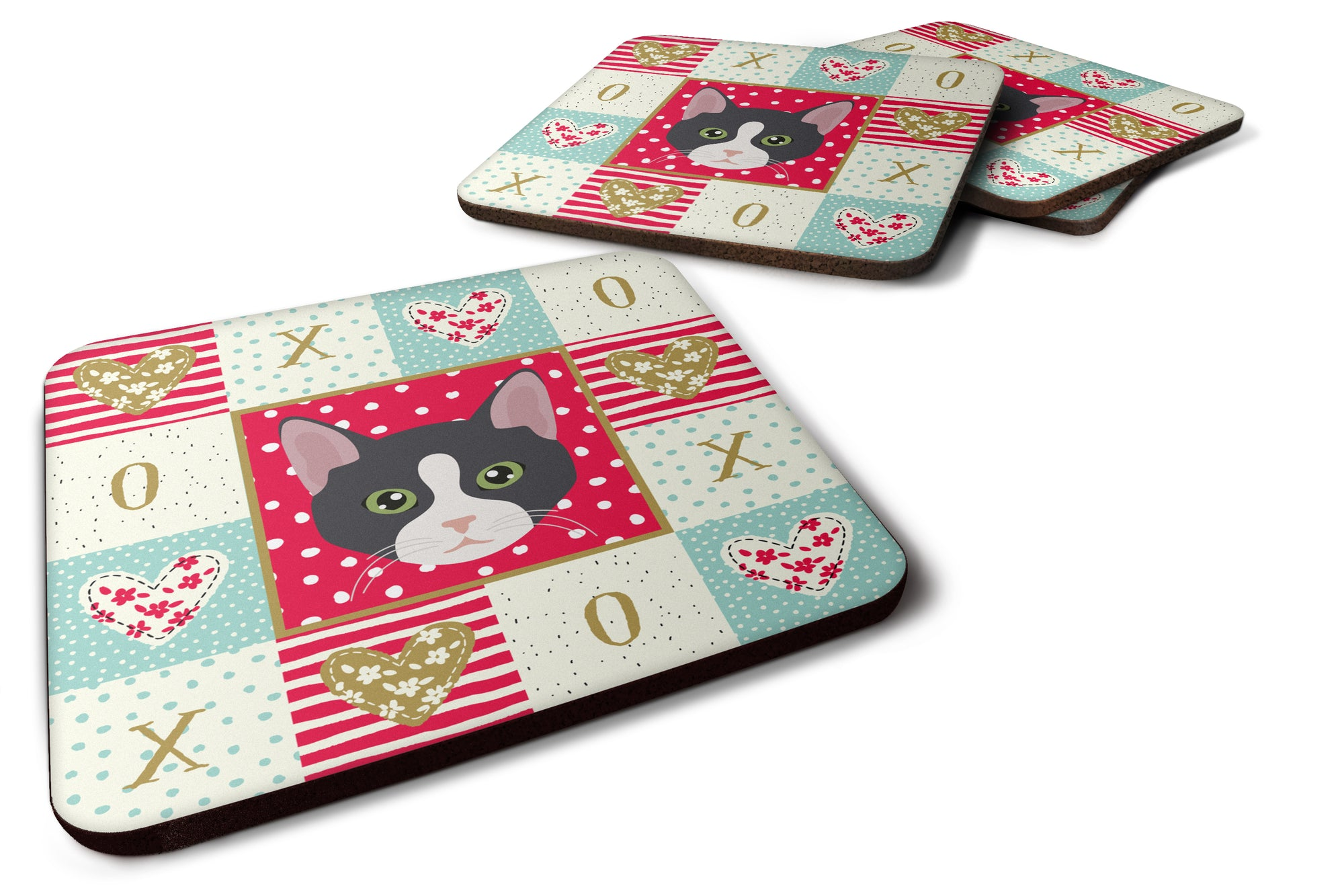 Buy this Set of 4 American Polydactyl Cat Love Foam Coasters Set of 4 CK5081FC
