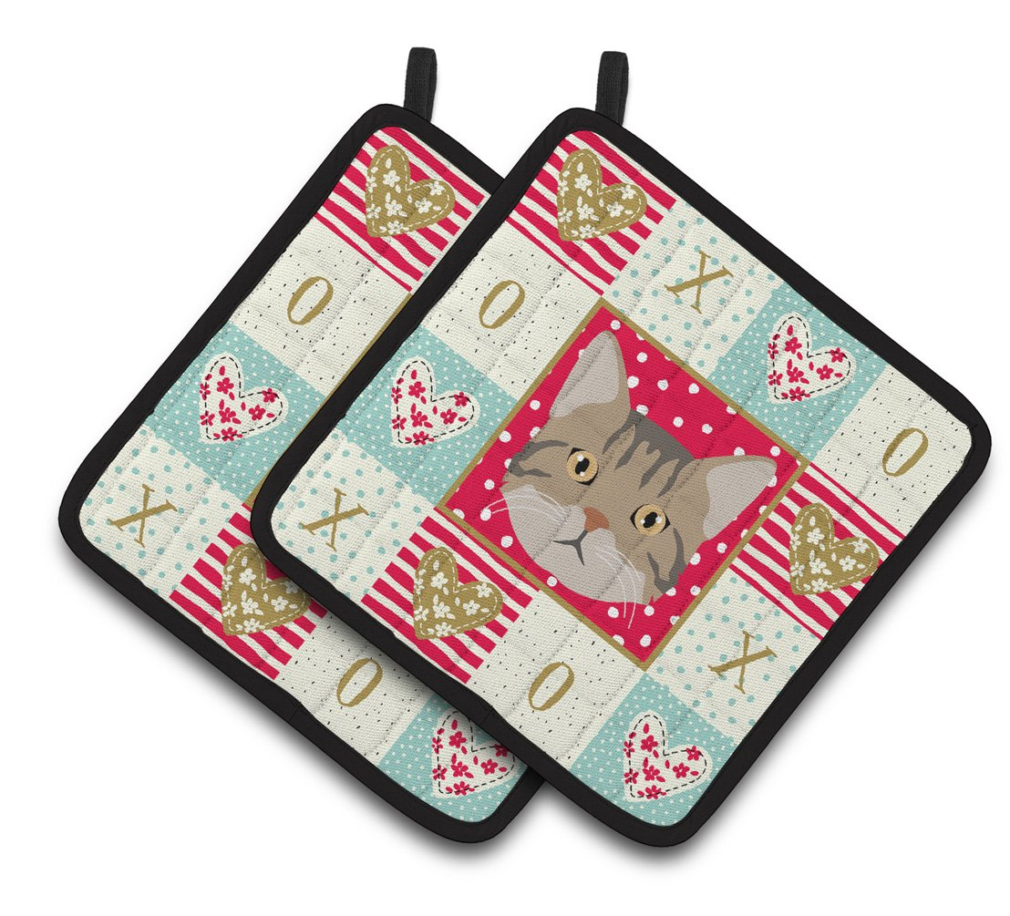 Buy this American Wirehair Cat Love Pair of Pot Holders CK5083PTHD