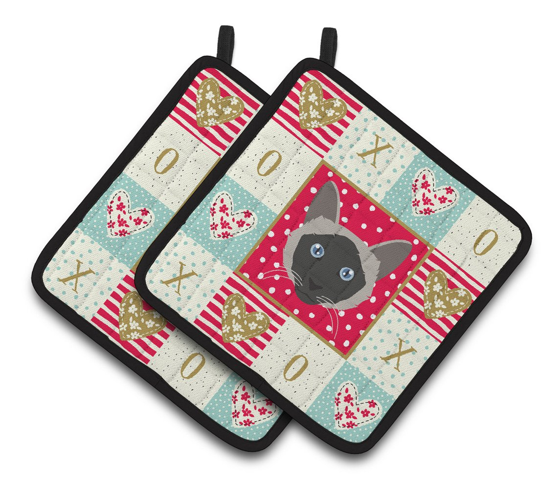 Buy this Balinese Cat Love Pair of Pot Holders CK5087PTHD