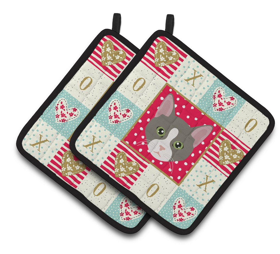 Buy this Brazilian Shorthair Cat Love Pair of Pot Holders CK5092PTHD