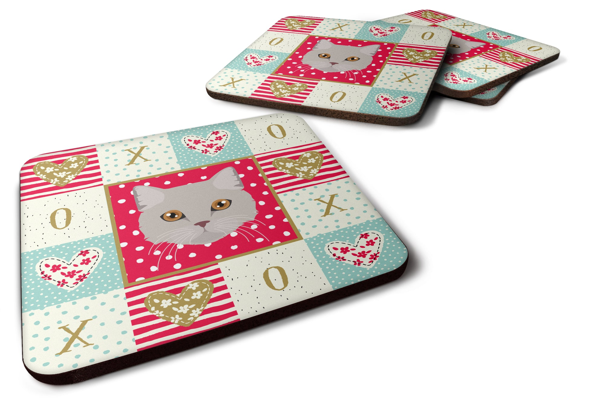 Buy this Set of 4 Brazilian Semi Longhair Cat Love Foam Coasters Set of 4 CK5094FC