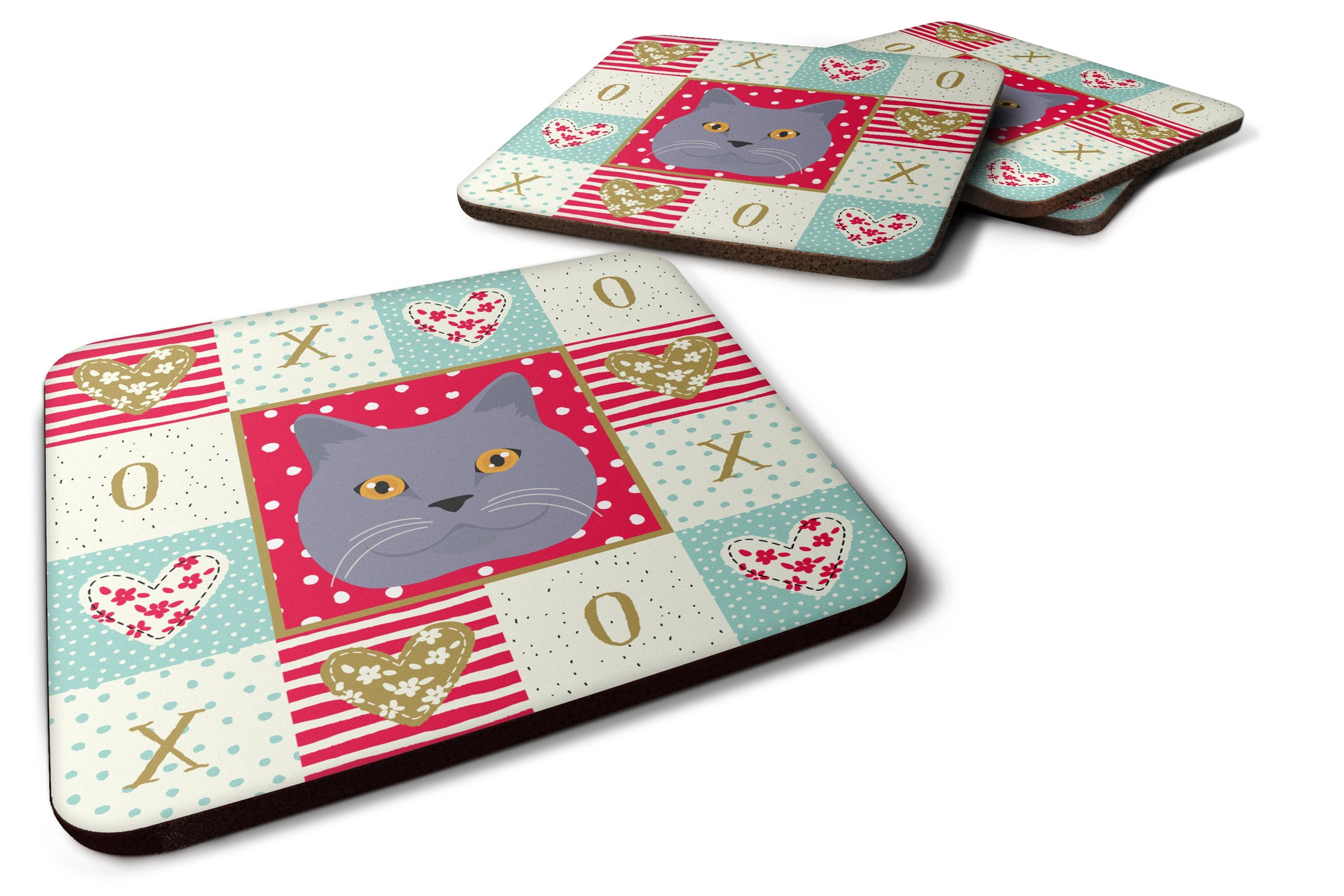 Buy this Set of 4 British Shorthair Cat Love Foam Coasters Set of 4 CK5095FC