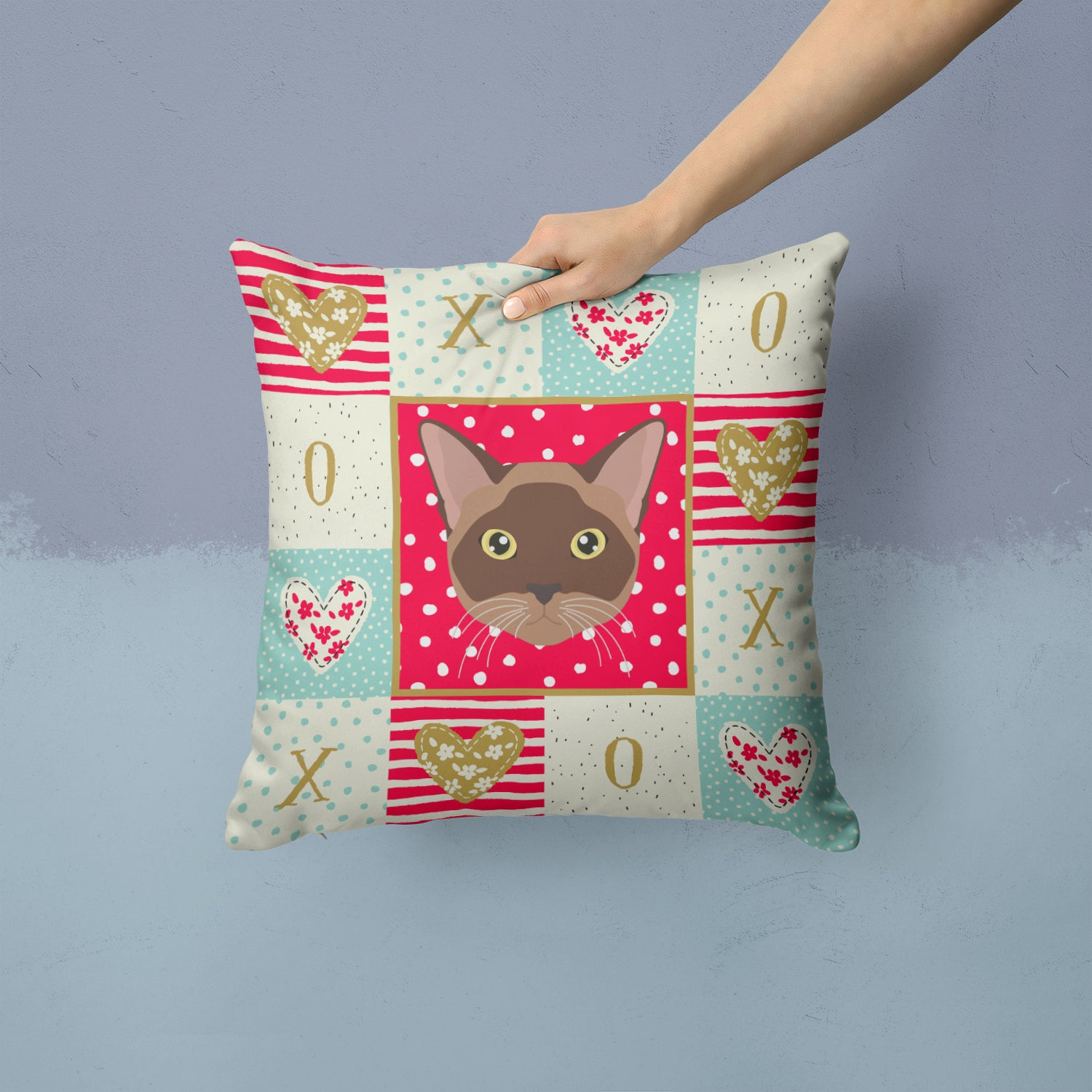 Buy this Burmese Cat Love Fabric Decorative Pillow CK5096PW1414