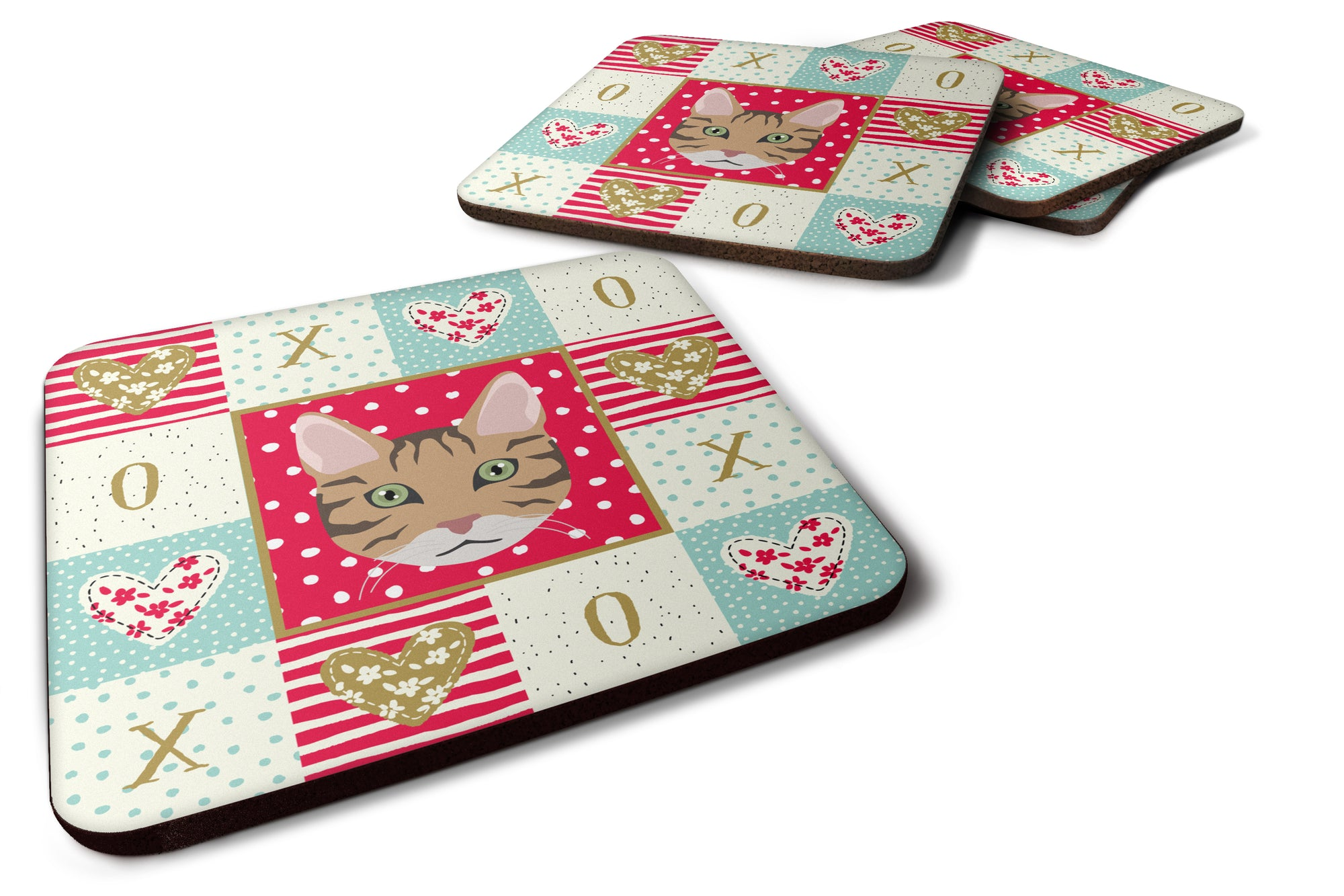 Buy this Set of 4 California Spangled Cat Love Foam Coasters Set of 4 CK5098FC