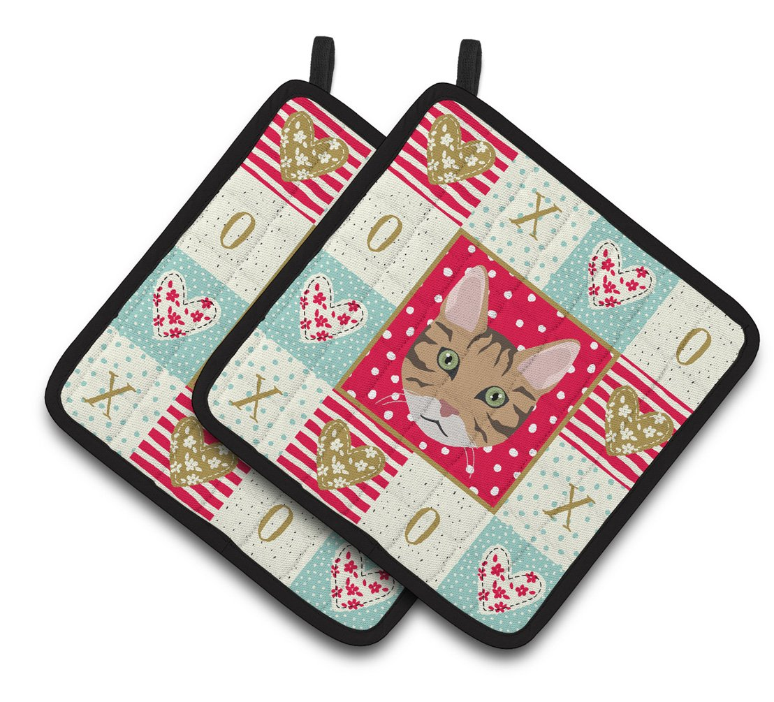 Buy this California Spangled Cat Love Pair of Pot Holders CK5098PTHD