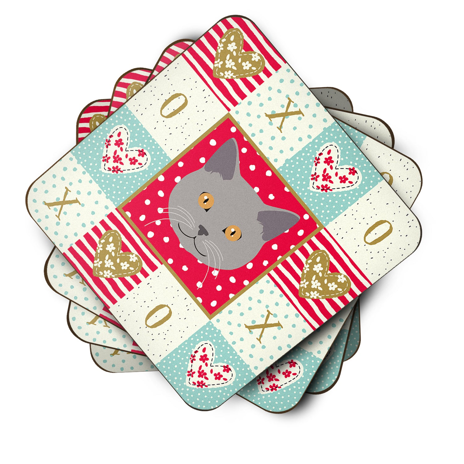 Set of 4 Chartreux Cat Love Foam Coasters Set of 4 CK5100FC by Caroline's Treasures