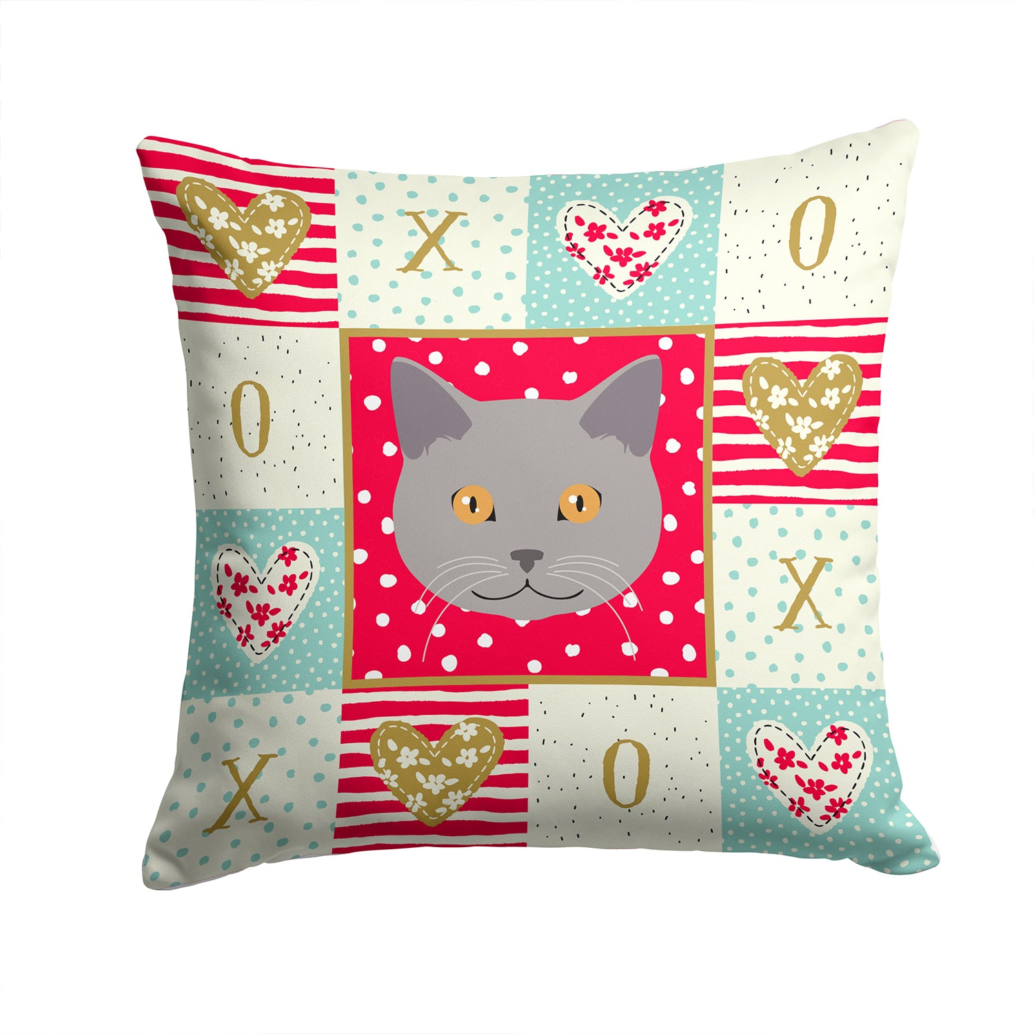 Chartreux Cat Love Fabric Decorative Pillow CK5100PW1414 by Caroline's Treasures
