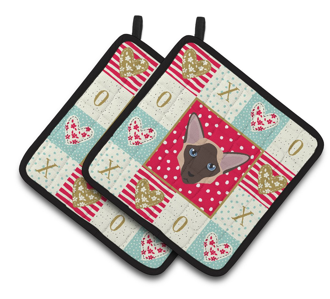 Buy this Colorpoint Longhair Cat Love Pair of Pot Holders CK5104PTHD