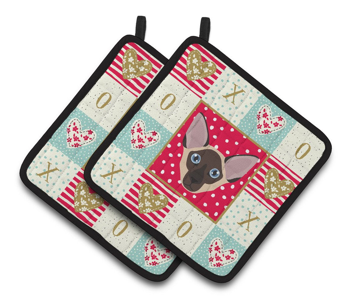 Buy this Colorpoint Shorthair Cat Love Pair of Pot Holders CK5106PTHD
